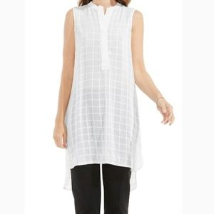 Vince Camuto White Check Sheer Sleeveless Tunic